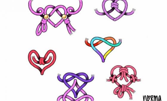 KnotsHeart ♥ dispo (taille aprox: 5×5 cm)x arc en ciel x rouge résérvé