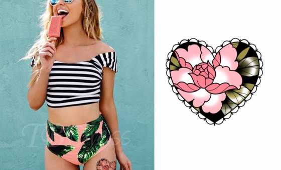 Coeur Fleur Rose ♥ DISPO (exemple emplacement) Taille minimum : 10x9cm