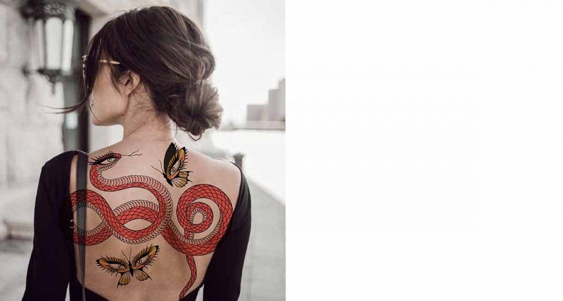 Serpent et papillons